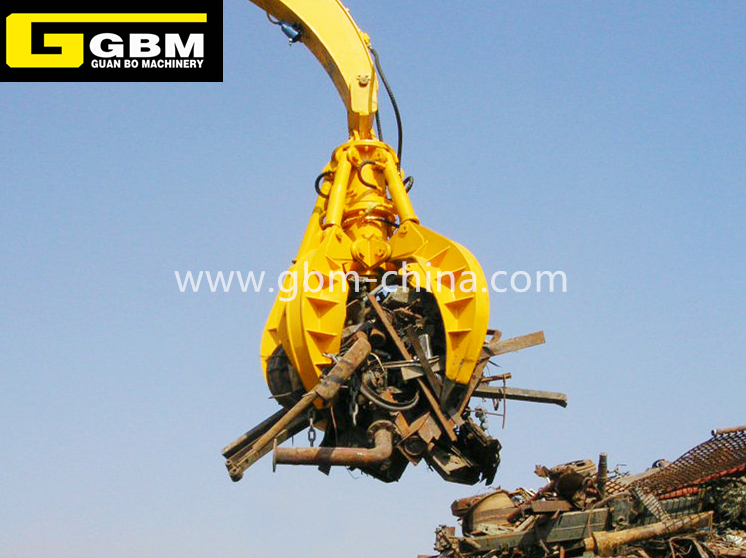 Excavator hydraulic orange peel grab