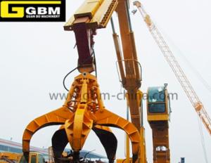 Excavator supporting hydraulic orange peel grab bucket