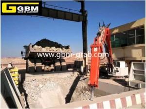 Pedestal rock breaker boom system