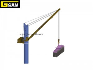 Deck crane with power swivel spreader