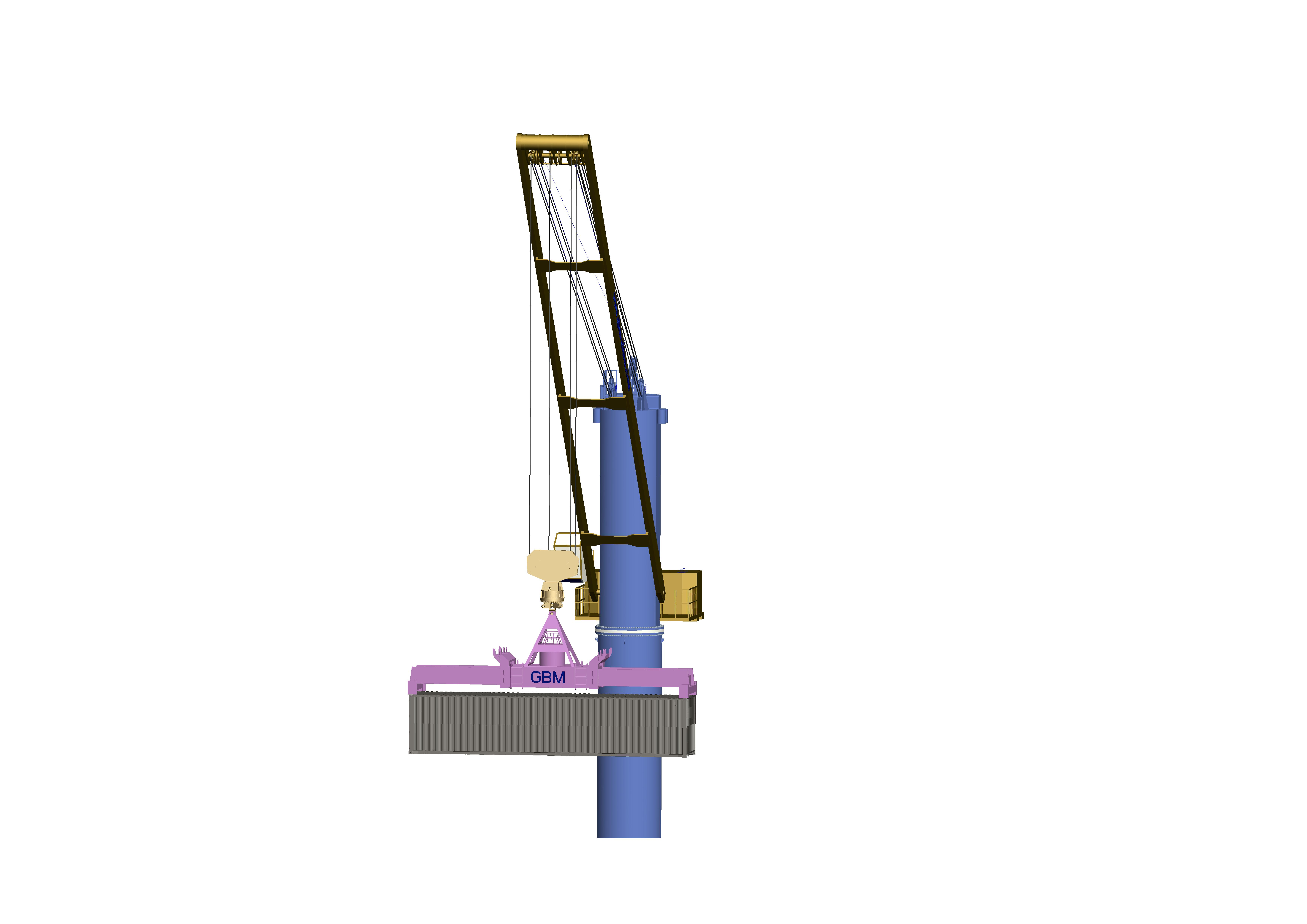 Deck crane with power swivel spreader Featured Image